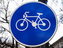Sinal do trajeto da bicicleta Fotos de Stock Royalty Free