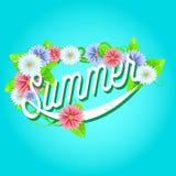 Sinal do verão com quadro das flores Fotos de Stock Royalty Free