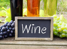 Sinal do vinho com uvas e garrafas fotos de stock