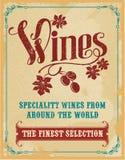 Sinal do vintage da rotulação da mão do vinho Fotos de Stock