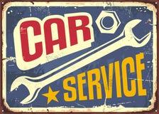 Sinal do vintage do serviço do carro ilustração do vetor