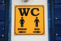 Sinal do WC, Croácia Fotografia de Stock