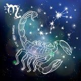 Sinal do zodíaco da Escorpião Círculo do horóscopo Céu da obscuridade do espaço ilustração do vetor