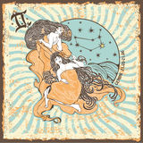 Sinal do zodíaco da mulher dos Gêmeos Cartão do horóscopo do vintage Imagens de Stock Royalty Free
