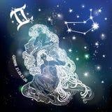 Sinal do zodíaco das meninas dos Gêmeos Círculo do horóscopo Céu da obscuridade do espaço ilustração royalty free