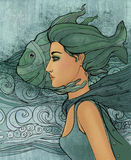 Sinal do zodíaco de Pisces como uma menina bonita Fotografia de Stock