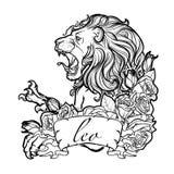 Sinal do zodíaco do Leão com as rosas decorativas de um quadro Imagem de Stock Royalty Free