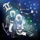 Sinal do zodíaco do menino dos Gêmeos Círculo do horóscopo Céu da obscuridade do espaço ilustração do vetor