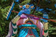 Sinal do zod?aco: Est?tua do porco Lanterna de papel do sinal astrol?gico em um templo budista em Coreia do Sul Guinsa, regi?o de fotos de stock