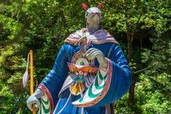 Sinal do zod?aco: Est?tua do rato Lanterna de papel do sinal astrol?gico em um templo budista em Coreia do Sul Guinsa, regi?o de  fotografia de stock royalty free