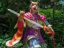 Sinal do zod?aco: Tiger Statue Lanterna de papel do sinal astrol?gico em um templo budista em Coreia do Sul Guinsa, regi?o de Dan imagem de stock royalty free
