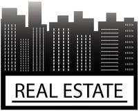 Sinal dos bens imobiliários com arranha-céus Imagens de Stock Royalty Free