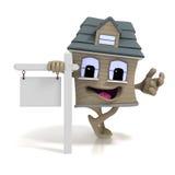 Sinal dos bens imobiliários da casa dos desenhos animados Imagens de Stock