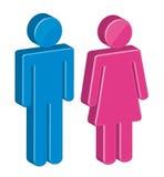 sinal dos homens 3d e das mulheres Fotografia de Stock Royalty Free