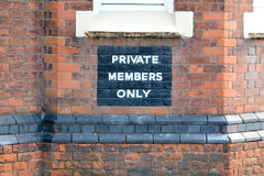 Sinal dos membros privados somente Imagens de Stock Royalty Free
