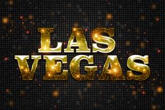 Sinal dourado brilhante de Las Vegas foto de stock royalty free