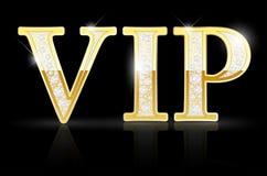 Sinal dourado brilhante do VIP com diamantes Imagens de Stock Royalty Free