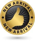 Sinal dourado da chegada nova com polegar acima, ilustração do vetor Fotografia de Stock