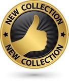 Sinal dourado da coleção nova com polegar acima, ilustração do vetor Fotos de Stock Royalty Free