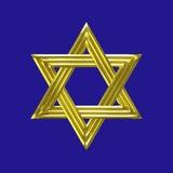 Sinal dourado da estrela de David com fundo azul Imagens de Stock Royalty Free
