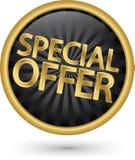 Sinal dourado da oferta especial, ilustração do vetor Imagens de Stock Royalty Free
