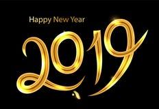 sinal dourado do ano 2019 novo com brilho dourado no fundo preto ilustração do ano novo do vetor Bandeira do ano novo feliz ilustração royalty free