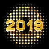 sinal dourado do ano 2019 novo com brilho dourado no fundo preto Vector o ano novo feliz 2019 - quadro das luzes do disco do ouro ilustração do vetor