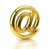 Sinal dourado do email Foto de Stock Royalty Free