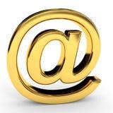 Sinal dourado do email Fotografia de Stock