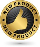 Sinal dourado do produto novo com polegar acima, ilustração do vetor Fotografia de Stock Royalty Free