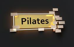 Sinal dourado moderno de Pilates Imagem de Stock Royalty Free