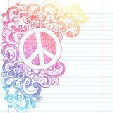 Doodles esboçado do sinal de paz de volta ao vetor da escola mim Imagem de Stock Royalty Free