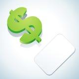 Sinal e cartão de dólar Foto de Stock Royalty Free