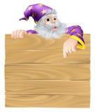 Sinal e feiticeiro dos desenhos animados Foto de Stock Royalty Free
