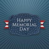 Sinal e fita felizes do cumprimento de Memorial Day ilustração do vetor