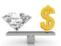 Sinal e gema de dólar dos EUA na balancê no branco Fotos de Stock Royalty Free