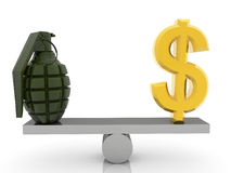 Sinal e granada de dólar dos EUA na balancê Fotografia de Stock Royalty Free