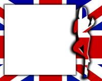 Sinal em branco com a fêmea BRITÂNICA 'sexy' da bandeira Fotografia de Stock Royalty Free