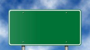Sinal em branco da autoestrada no céu azul Imagens de Stock Royalty Free