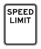 Sinal em branco do limite de velocidade ilustração stock