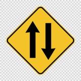 Sinal em dois sentidos do tráfego adiante no fundo transparente ilustração royalty free