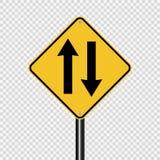 Sinal em dois sentidos do tráfego do símbolo adiante no fundo transparente ilustração stock