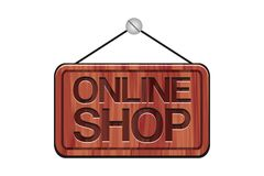 Sinal em linha da loja - sinal de madeira Foto de Stock Royalty Free