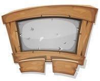 Sinal engraçado da madeira e da pedra para o jogo de Ui Fotografia de Stock