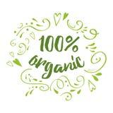 Sinal escrito à mão 100 da rotulação do vetor orgânico para o restaurante, menu do café ilustração royalty free