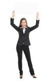 Sinal excited do branco da terra arrendada da mulher de negócio Foto de Stock Royalty Free