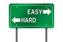 Sinal fácil ou duro da maneira Imagem de Stock
