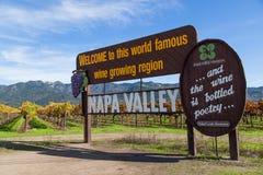 Sinal famoso de Napa Valley Fotografia de Stock Royalty Free