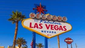 Sinal famoso e popular na tira - LAS VEGAS - NEVADA de Las Vegas Wolcome - 12 de outubro de 2017 Fotografia de Stock