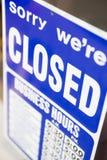 Sinal fechado da loja Fotos de Stock Royalty Free